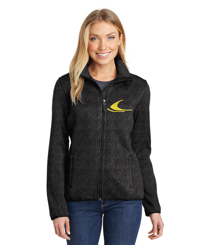 Vintage Snowmobile Ski-Doo in Yellow Port Authority® Ladies Embroidered Sweater Fleece Jacket