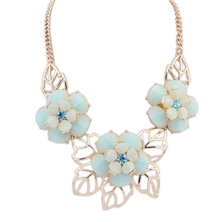 Pacific Blue Flower Necklace