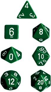 Chessex Polyhedral Dice Set (Green/White)