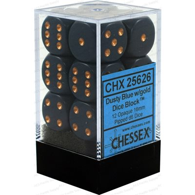 Chessex 12 16mm D6 Dice Set (Dusty Blue/Gold)