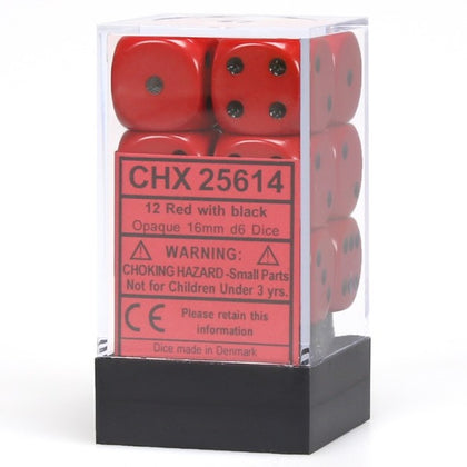 Chessex 12 16mm D6 Dice Set (Red/Black)