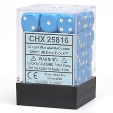 Chessex 36 12mm D6 Dice Set (Blue/White)