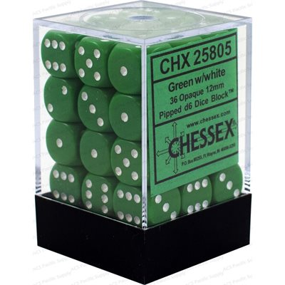 Chessex 36 12mm D6 Dice Set (Green/White)