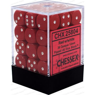 Chessex 36 12mm D6 Dice Set (Red/White)