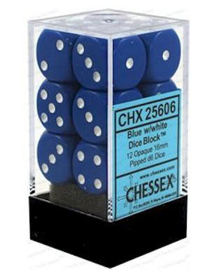 Chessex 12 16mm D6 Dice Set (Blue/White)