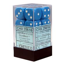 Chessex 12 16mm D6 Dice Set (Light Blue/White)