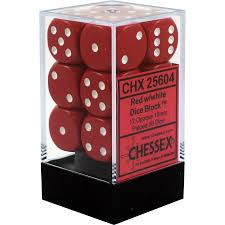 Chessex 12 16mm D6 Dice Set (Red/White)