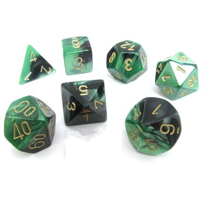 Chessex Polyhedral Dice Set Gemini (Black-Green/Gold)