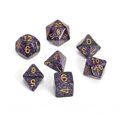 Chessex Polyhedral Dice Set Hurricane (Speckled Purple & Black/Gold)