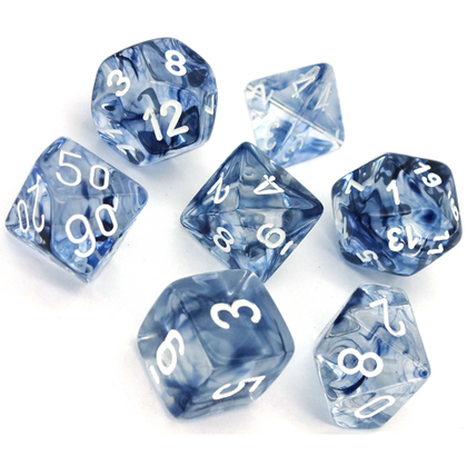 Chessex Polyhedral Dice Set Nebula (Dark Blue/White)
