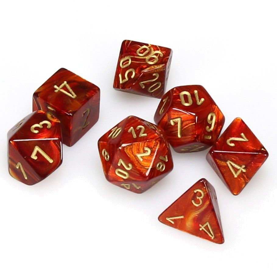 Chessex Polyhedral Dice Set Scarab (Scarlet/Gold)