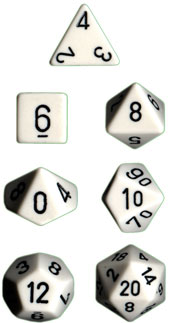 Chessex Polyhedral Dice Set (White/Black)