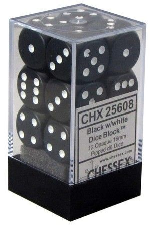 Chessex 12 16mm D6 Dice Set (Black/White)