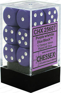 Chessex 12 16mm D6 Dice Set (Purple/White)