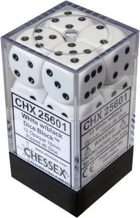 Chessex 12 16mm D6 Dice Set (White/Black)