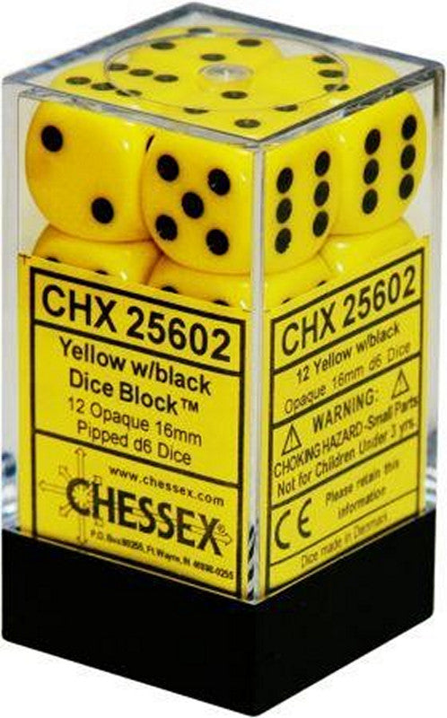 Chessex 12 16mm D6 Dice Set (Yellow/Black)