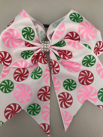 Pink green and red swirls bow