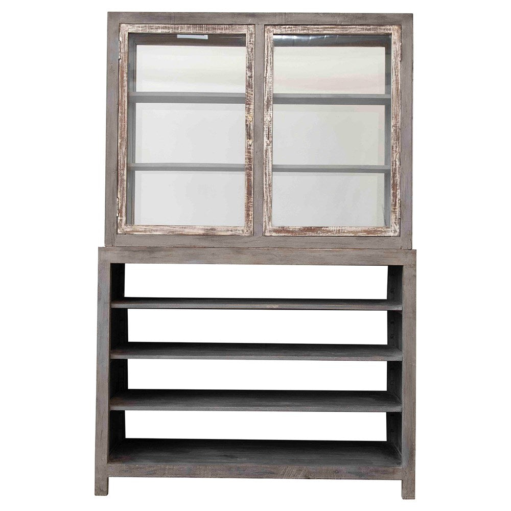 Reclaim Wood & Tempered Glass Cabinet