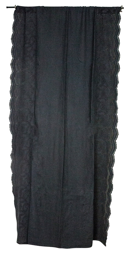 Linen Eyelet EMB Curtian Panel, Charcoal