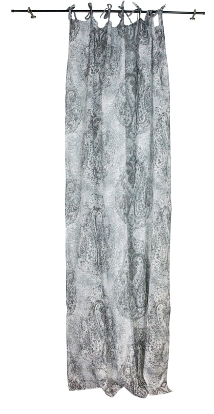 Linen Paisley Curtian Panel, White/Gray
