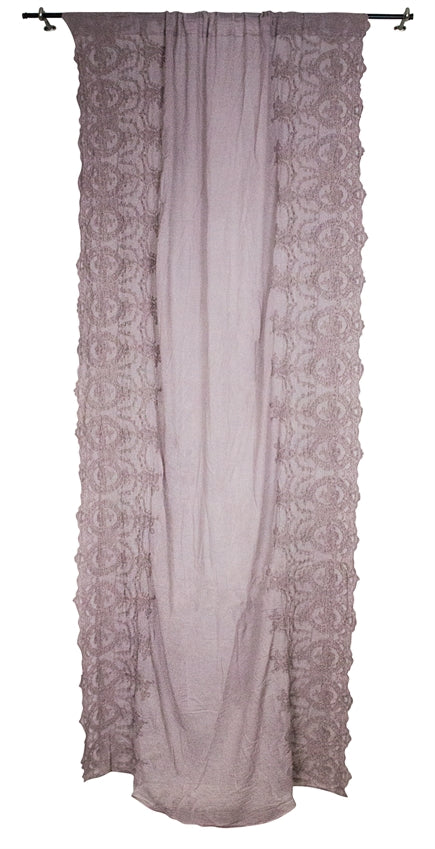 Cotton Side Embroidered Curtian Panel, Rose
