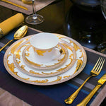 Royal Gold Leaves Bone China  Dinner set 4pc - VMC Creative Designs
