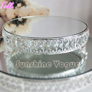 Crystal Bead Silver Plated Mirror Surface Dessert Stand 12''in/18in - VMC Creative Designs