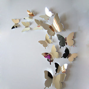 Mirrored 3D Butterflies Wall Stickers-12pcs - VMC Creative Designs