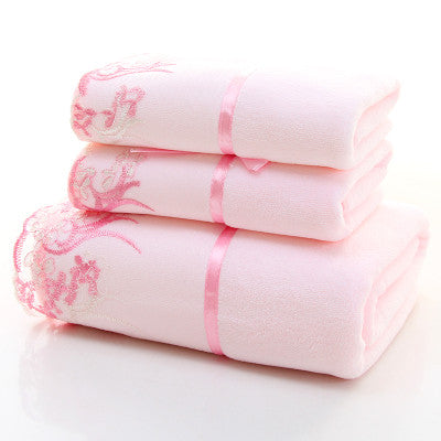 Embroidered Print Cotton Towel Set-3pcs - VMC Creative Designs