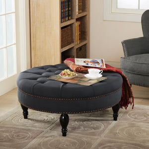 "Blue Linen Modern Tufted Ottoman round bench-35.43"" - VMC Creative Designs"