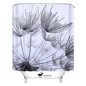 Black Dandelion  Waterproof Fabric Shower Curtian 72 X 78inch - VMC Creative Designs