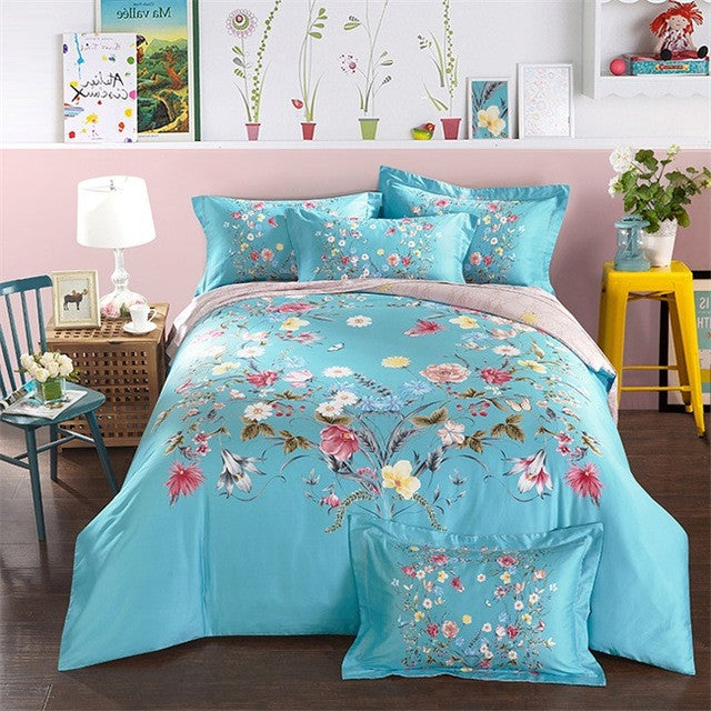 Bright Colored Floral Rose Print Duvet Cover Set - VMC Creative Designs