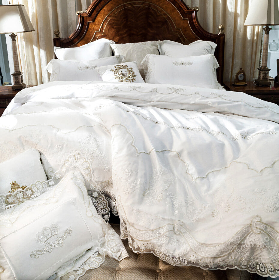 French Egyptian Cotton 800TC Satin Embroidery Lace Duvet Cover Set - VMC Creative Designs