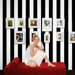 10M Roll Black And White Wide Stripe Wallpaper