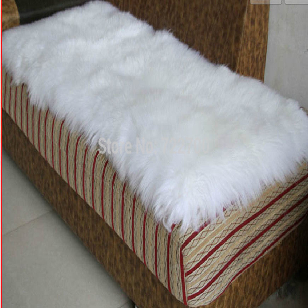 White sheepskin Rug Natural Sheep Carpet Real Fur for Bed or Floor - VMC Creative Designs