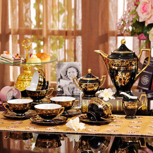 European luxury bone china coffee tea set gold painted-15pcs - VMC Creative Designs