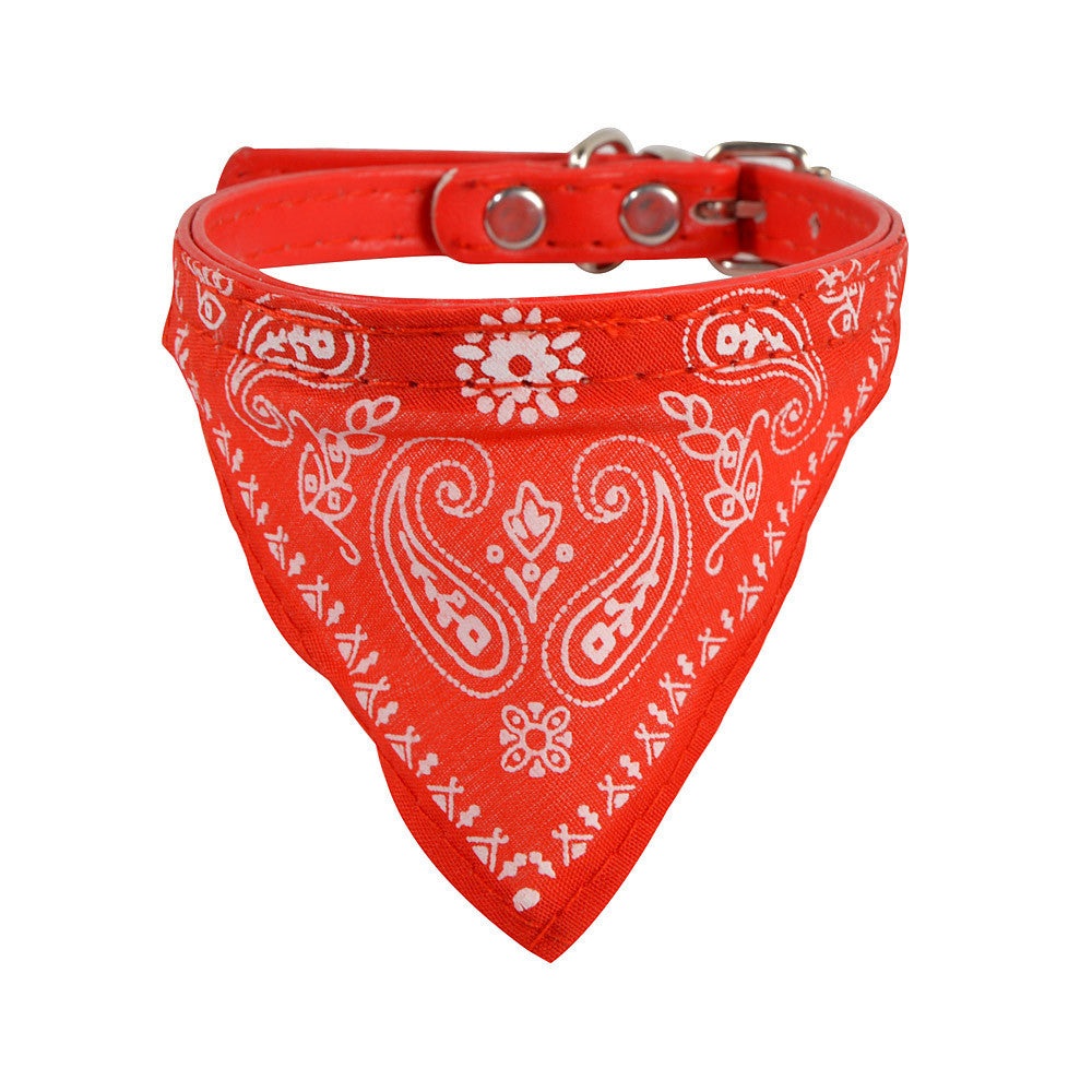 Dog PU Leather Adjustable Pet Collar Scarf Neckerchief Necklace For Animals XT - VMC Creative Designs