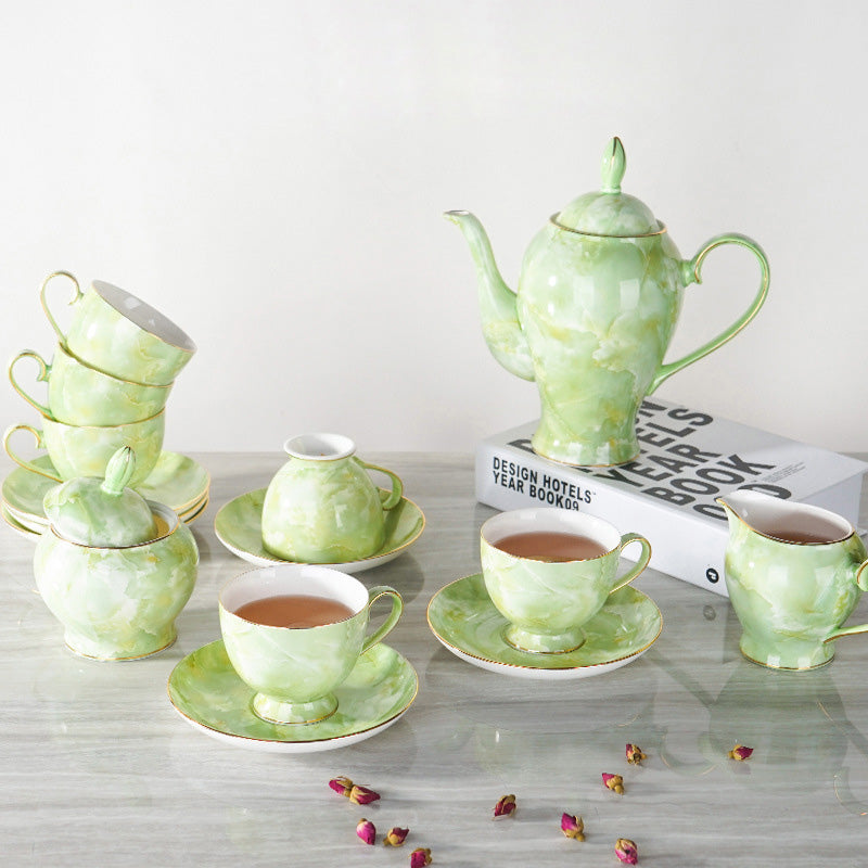15pcs/lot Luxury Bone China Marble Coffee Set - VMC Creative Designs