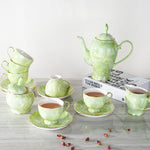 15pcs/lot Luxury Bone China Marble Coffee Set