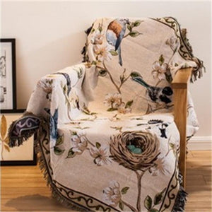 American Country Style Floral Bird Throw - VMC Creative Designs