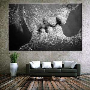 Abstract Figure Kissing Canvas Painting -Unframed - VMC Creative Designs