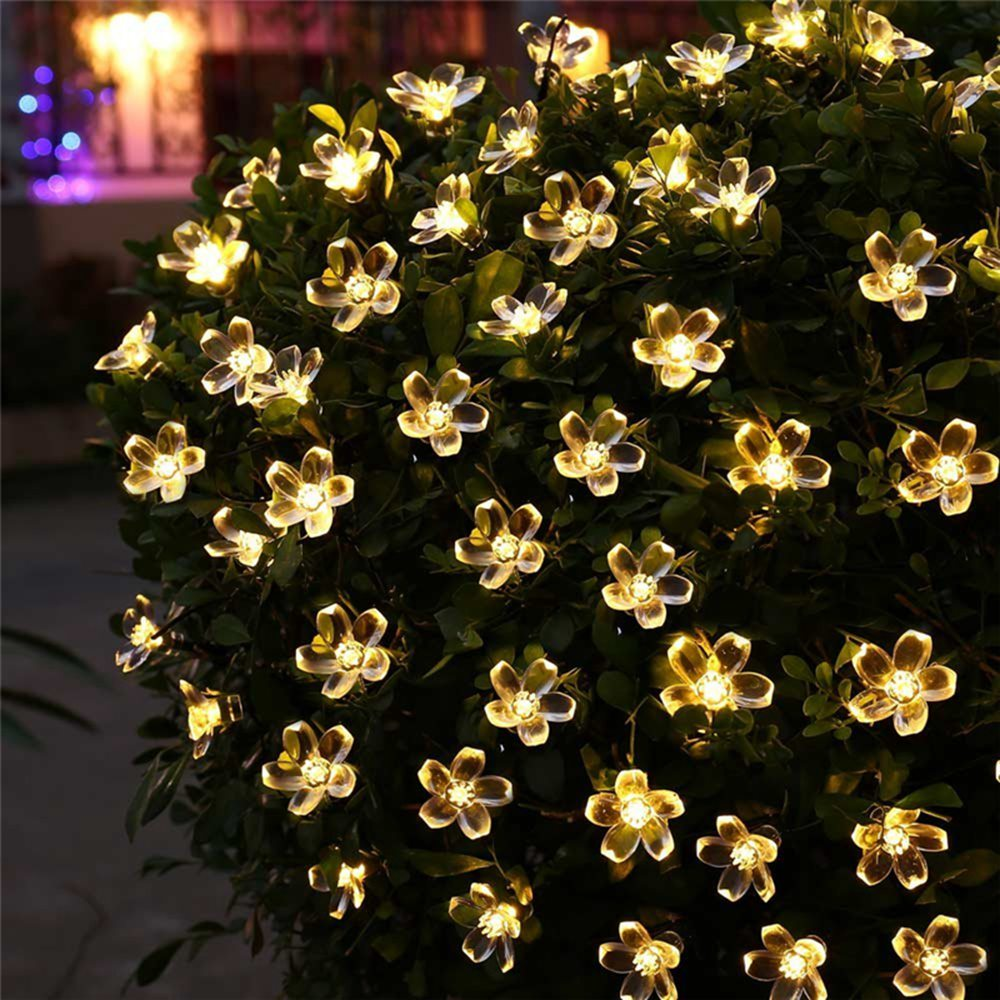 Peach Flower LED Solar Lamp Fairy String Outdoor Light - VMC Creative Designs