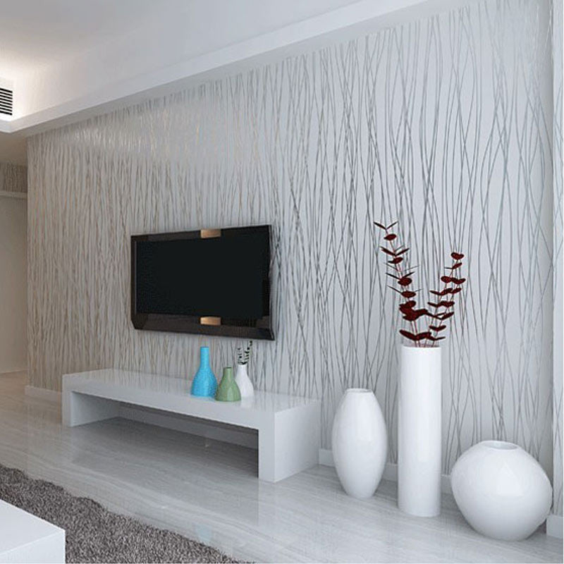Non-Woven Fashion Thin Flocking Vertical Stripes Wallpaper - VMC Creative Designs