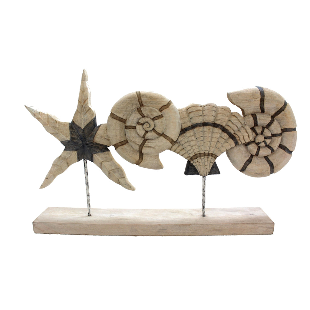 Wooden Shells On Stand, Ivory/Beige