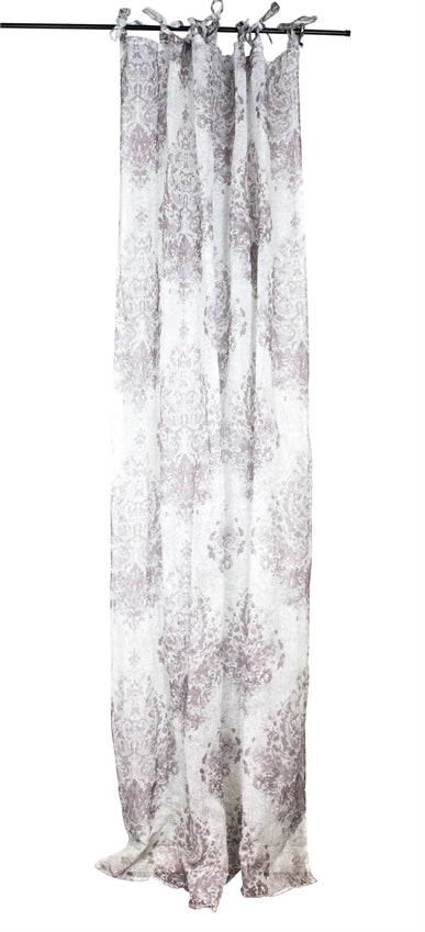 Linen Printed Curtian Panel, White/Lavender
