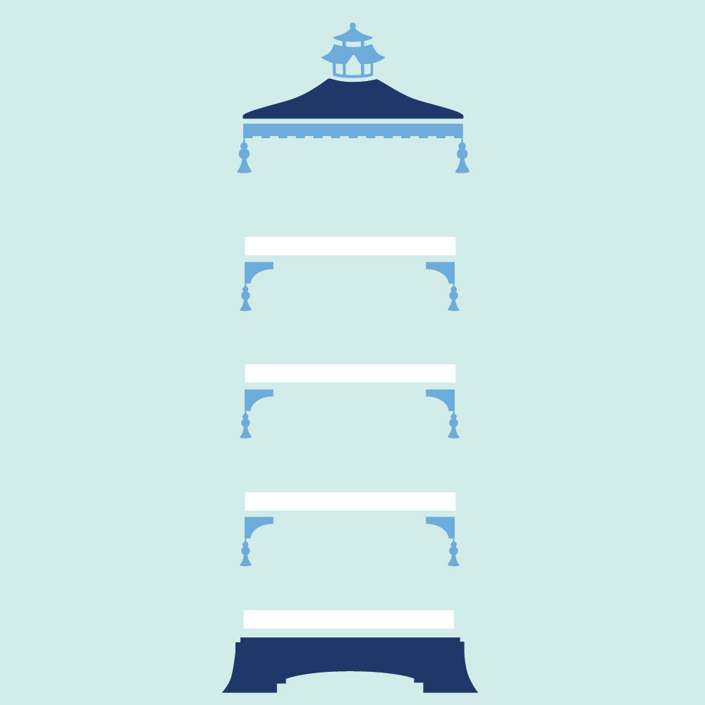 Navy and Sky Pagoda Blue and White shelf set