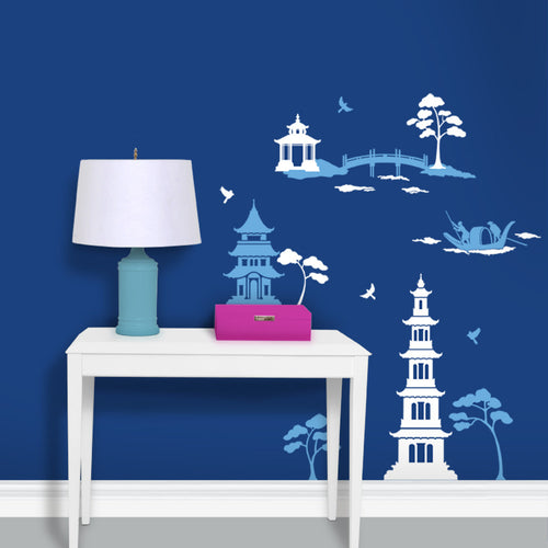 Chinoiserie Pagoda Toile Decal Set