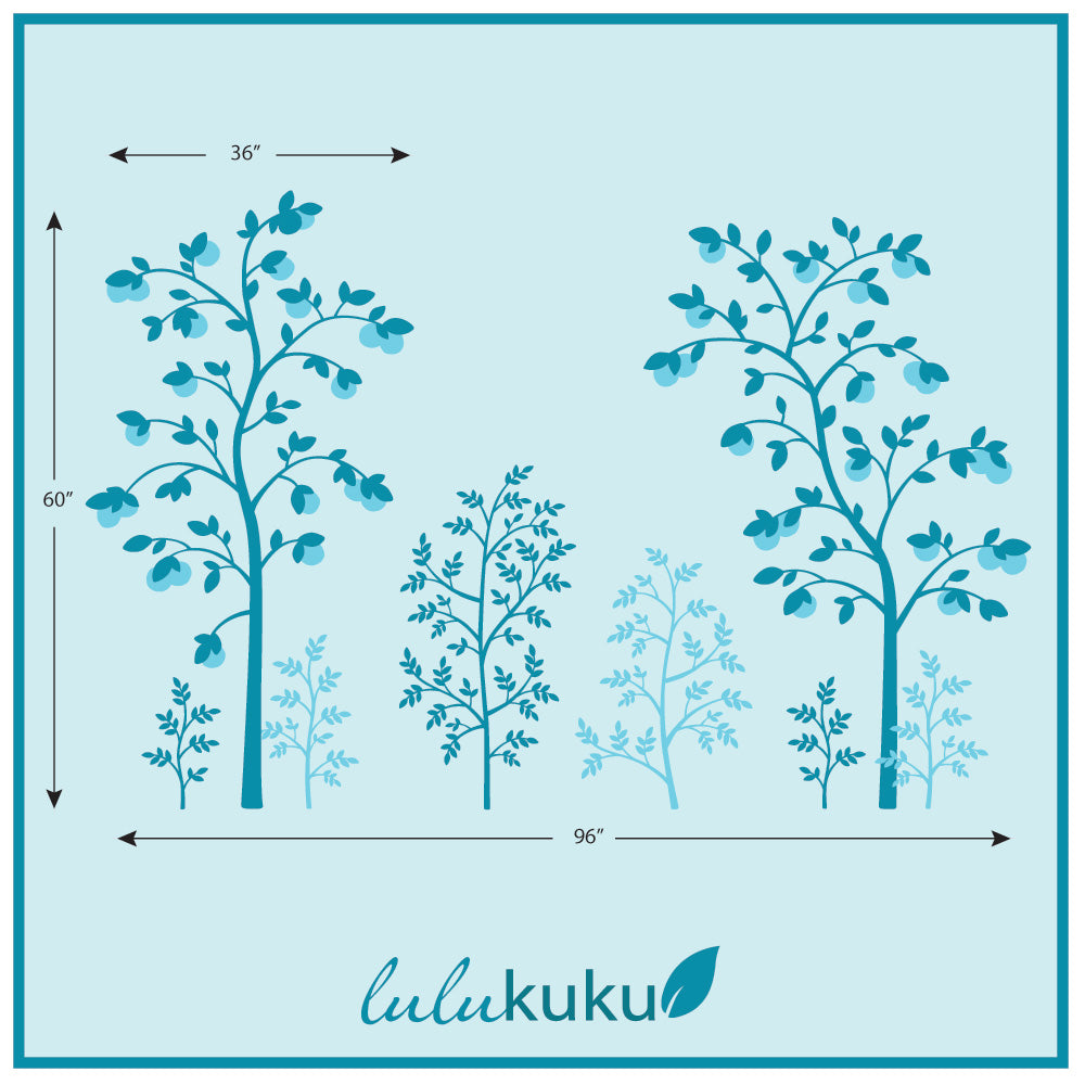 Chinoiserie Tree Wall Mural Turquoise Dimensions
