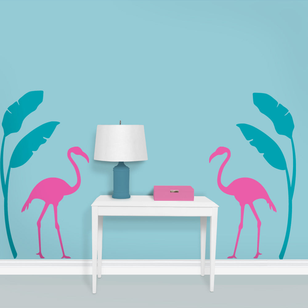Flamingo Palm Leaf Entryway
