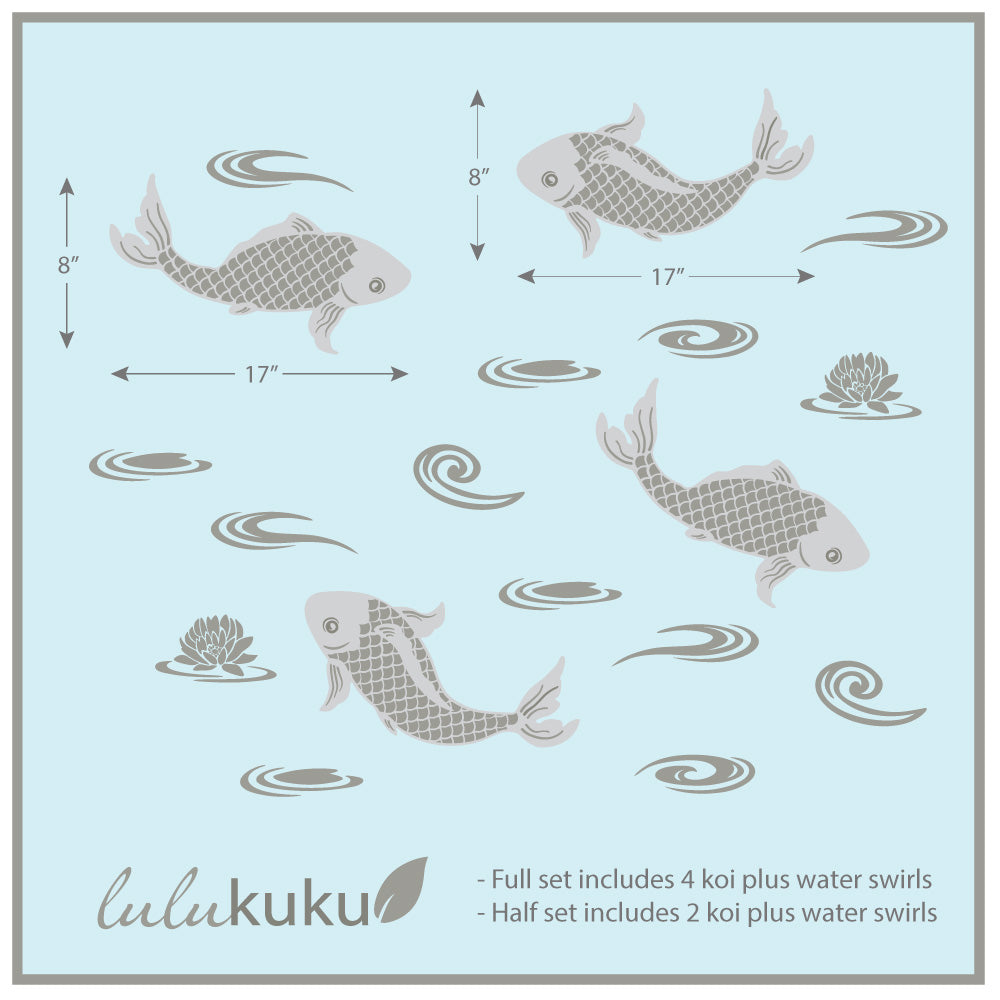 Chinoiserie Koi Decal Dimension Sheet